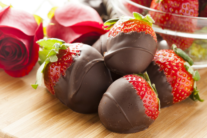 Strawberries Covered in Delicate Chocolate